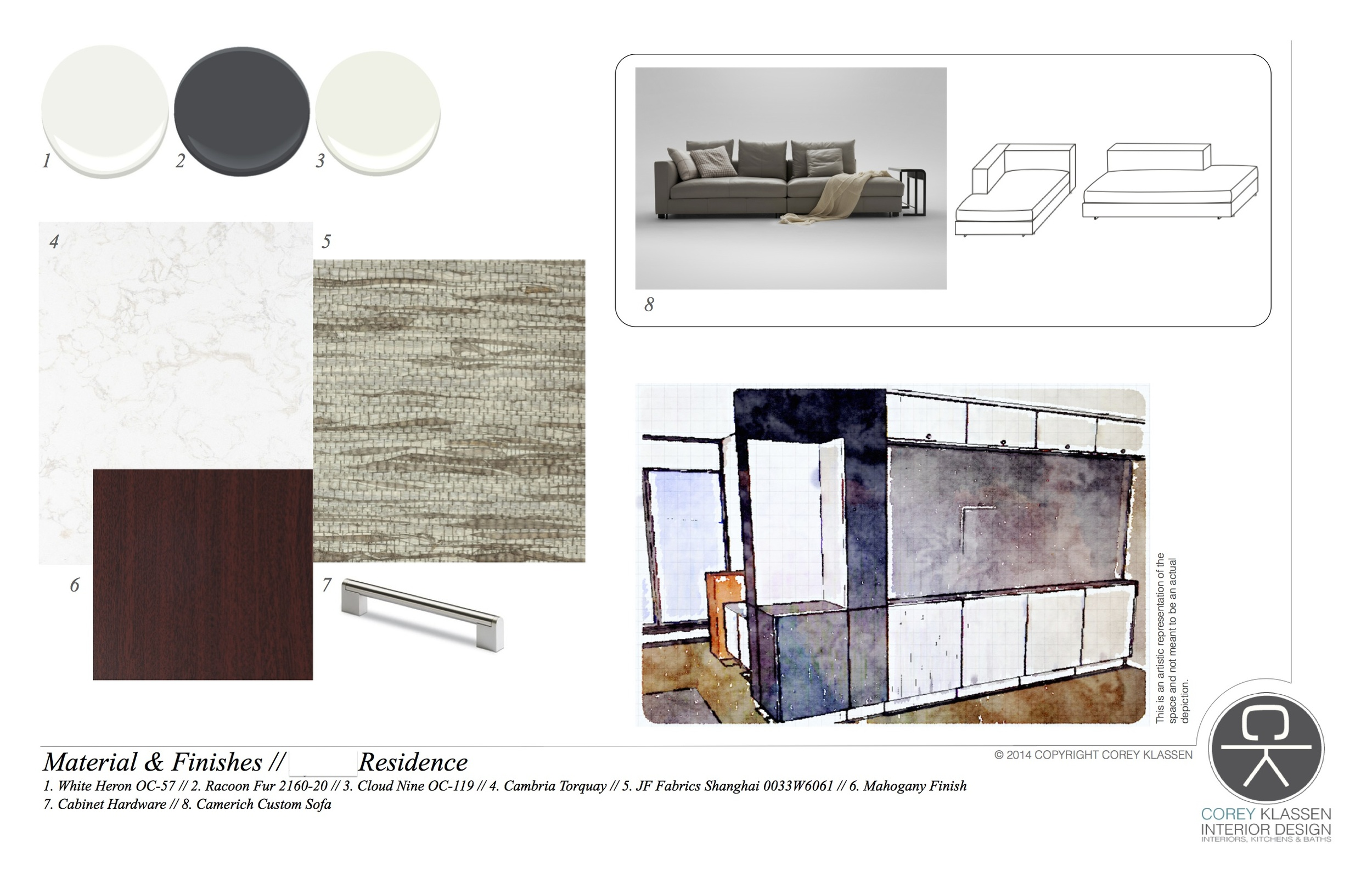 The concept board: yes, I know, Racoon Fur strikes again! This time, it's marrying a matte with high-gloss, whites, JF Fabrics Shanghai grass cloth... and just you wait for the new entry closet details because they are SPESSSSSH-AL!