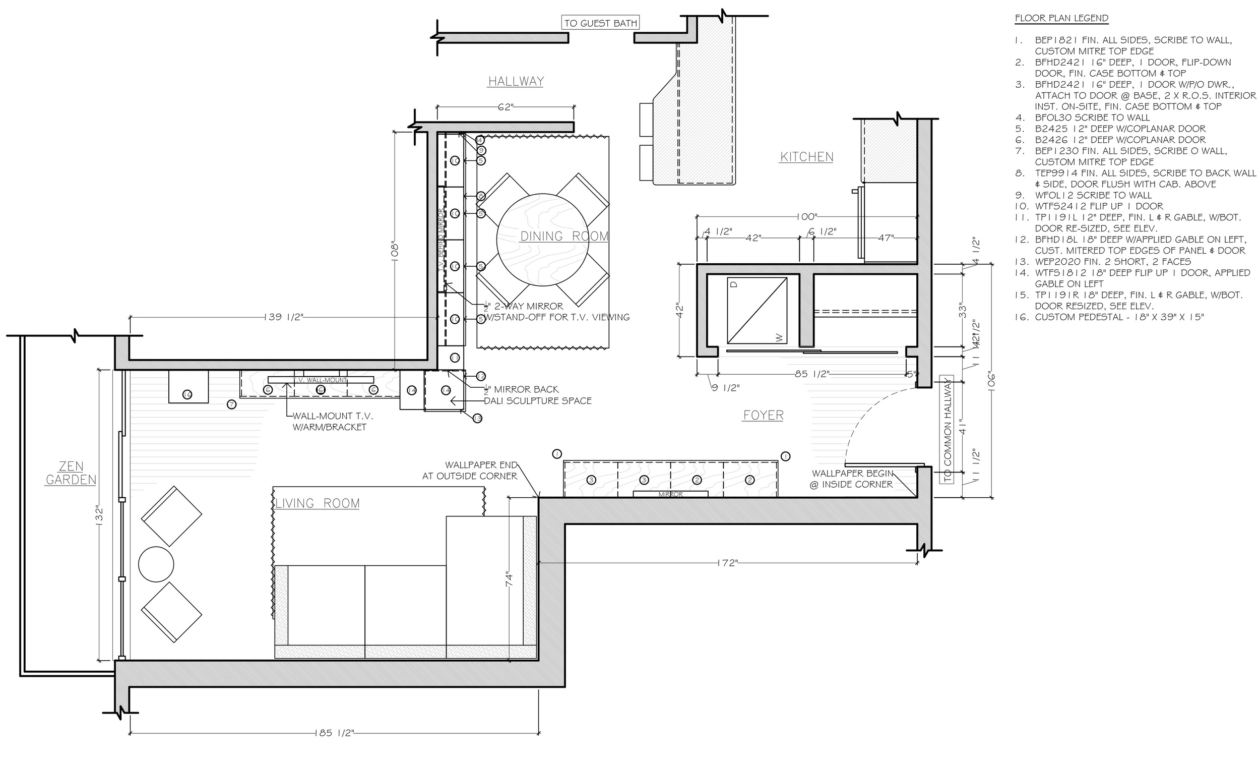 The floor plan: We are adding built-in bespoke cabinetry and adjusting the furniture plan to accommodate the PLETHORA of amazing artwork.