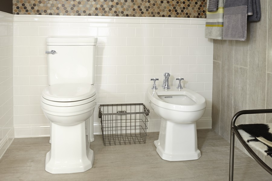 Lofty Visions, Corey's creation for DXV by American Standard, features the Fitzgerald toilet and bidet.