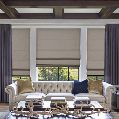 roman shades - The most popular window treatment, there are hundreds of colourways and patterns available to make your home unique. Available in Linen or Sateen, all fabrics come standard fully lined with a 100% cotton privacy liner. A concealed headrail is available. Flat, Relaxed, Classic, or Hobbled styles with Front Valances and all the popular operation options are available.
