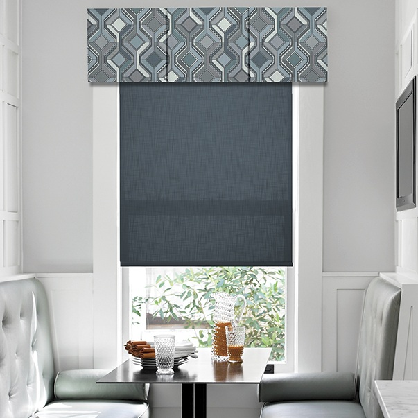 valances - There are 14 popular valance options available. From a soft roman, empire swag, pleated, or a fabric cornice, there are a variety of options to increase lighting control or add a decorative element.