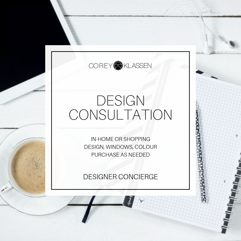 $500 + tax - Stackable interior colour & design consultation or shopping to gain aesthetic direction. Includes Questionnaire, Client Project Planner e-book & travel included.