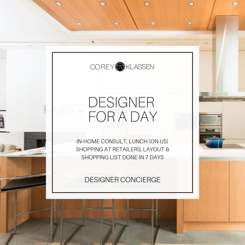 $995 + tax - A day of intensive design with a real expert to styling any type of room. Includes lunch (on us), Site Measure Guide, Client Project Planner e-Book & travel.