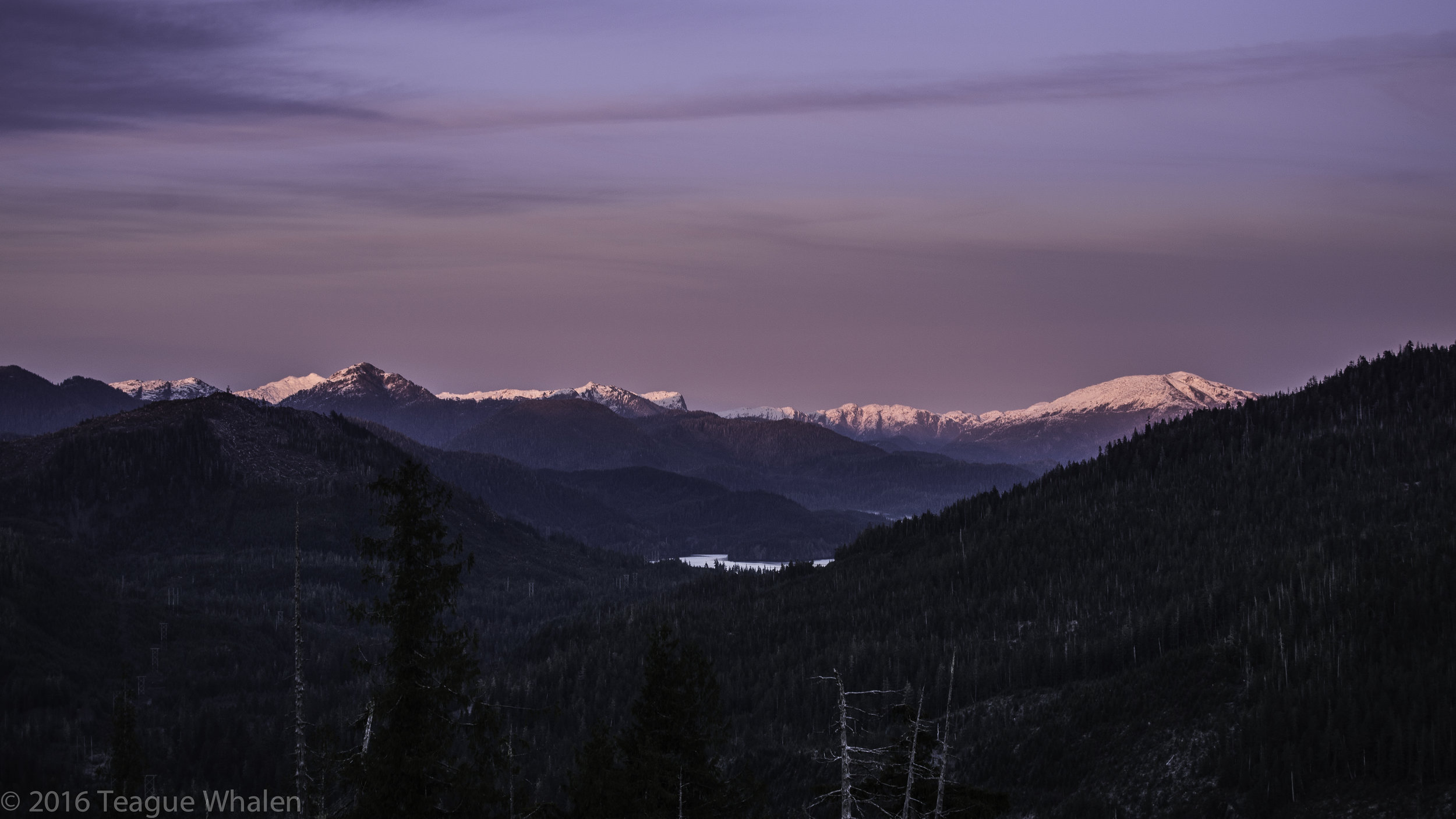 Alpenglow while driving Brown Mountain Rd. up to Dude Mountain trailhead