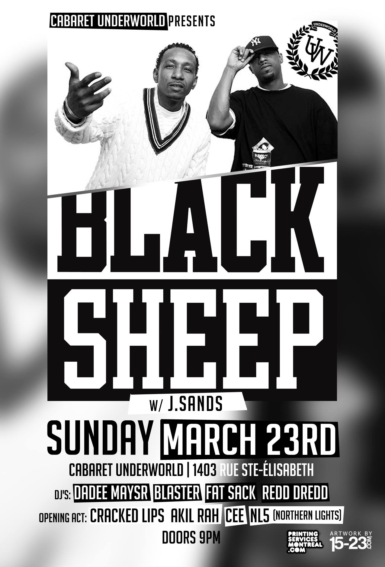 Black Sheep live in Montreal Sunday March 23rd