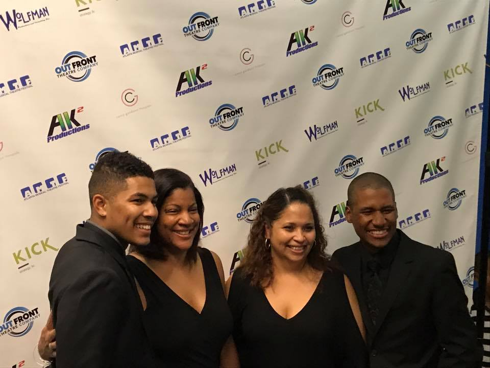 Christian Magby & Christian Albright with their moms after the premiere of  Mother of God  at the Atlanta Musical Theatre Festival. 2017.