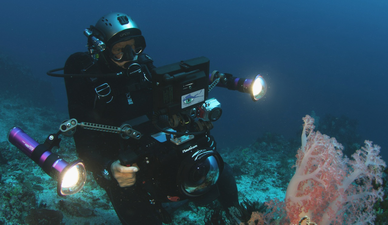 Tom filming with the RED EPIC in the NAUTICAM housing, Komodo, Indonesia