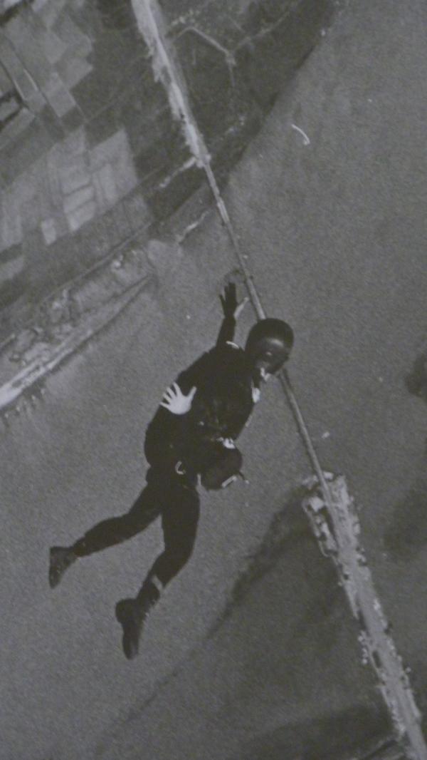 Tom freefalling during a high altitude parachute jump over the Da Nang River, Vietnam, 1964