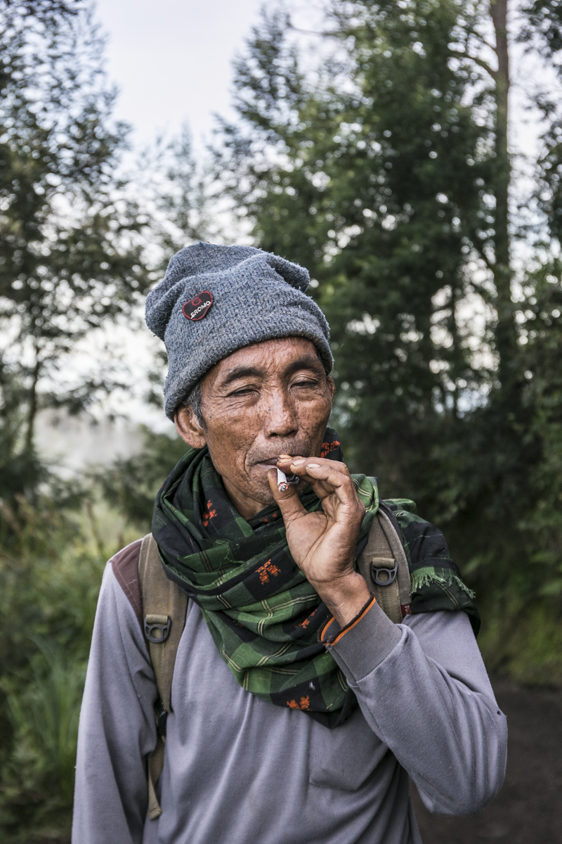 Yanto, 54 year old, a retired local sulfur miner who work as a porter at Ijen Mountain. Banyuwangi, East Java. 2018