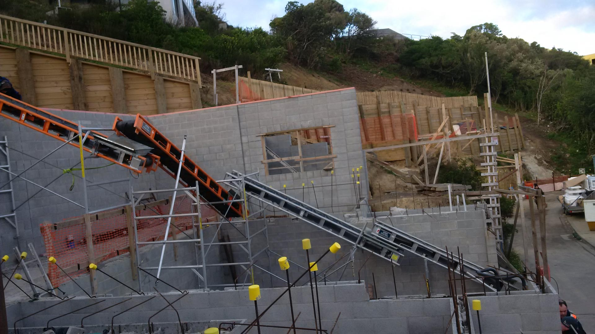 Backfilling high retaining wall in Wellington