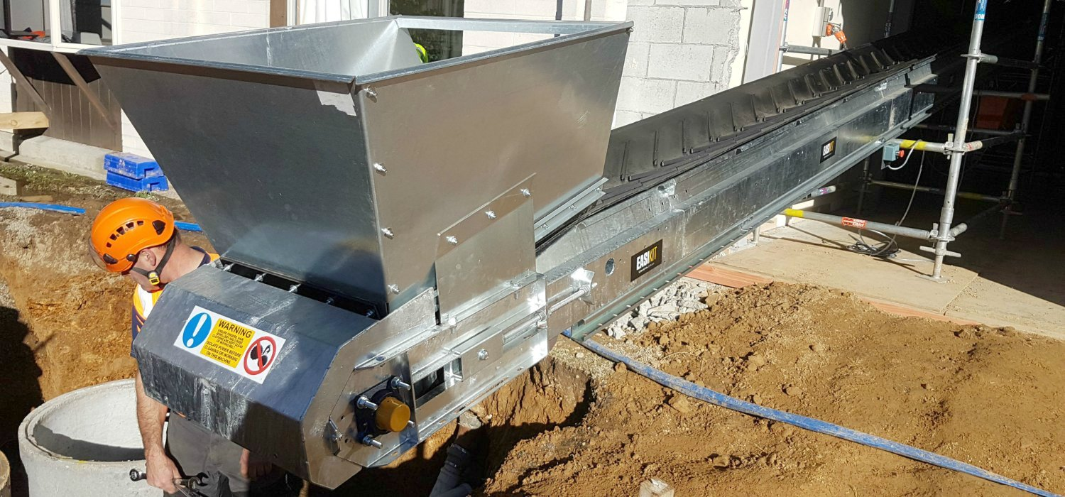 Building Site Conveyor with Hopper. NZ Conveyors  Hire and Sales
