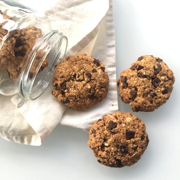 Cookies de chocolate sin gluten sin lácteos sin azúcar refinado