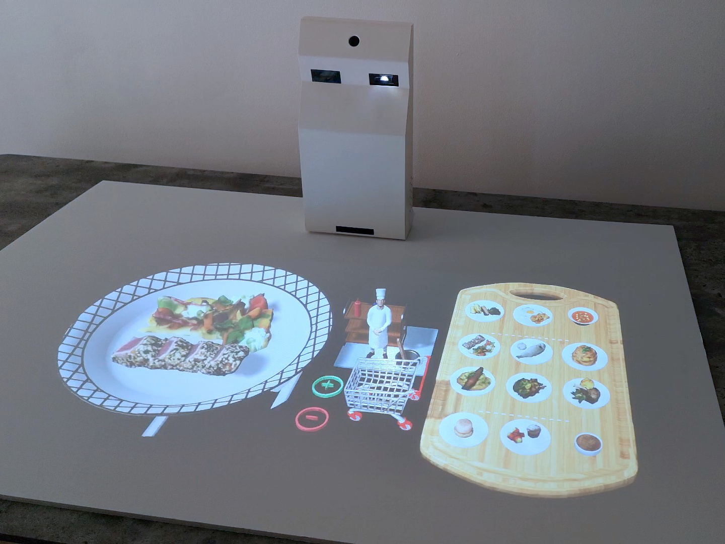 AR menu - The AR lamp projects the dishes of the menu in full size 3D with realistic and tasty details. The guest sees the aesthetic of the preparation and understands the portion sizes.