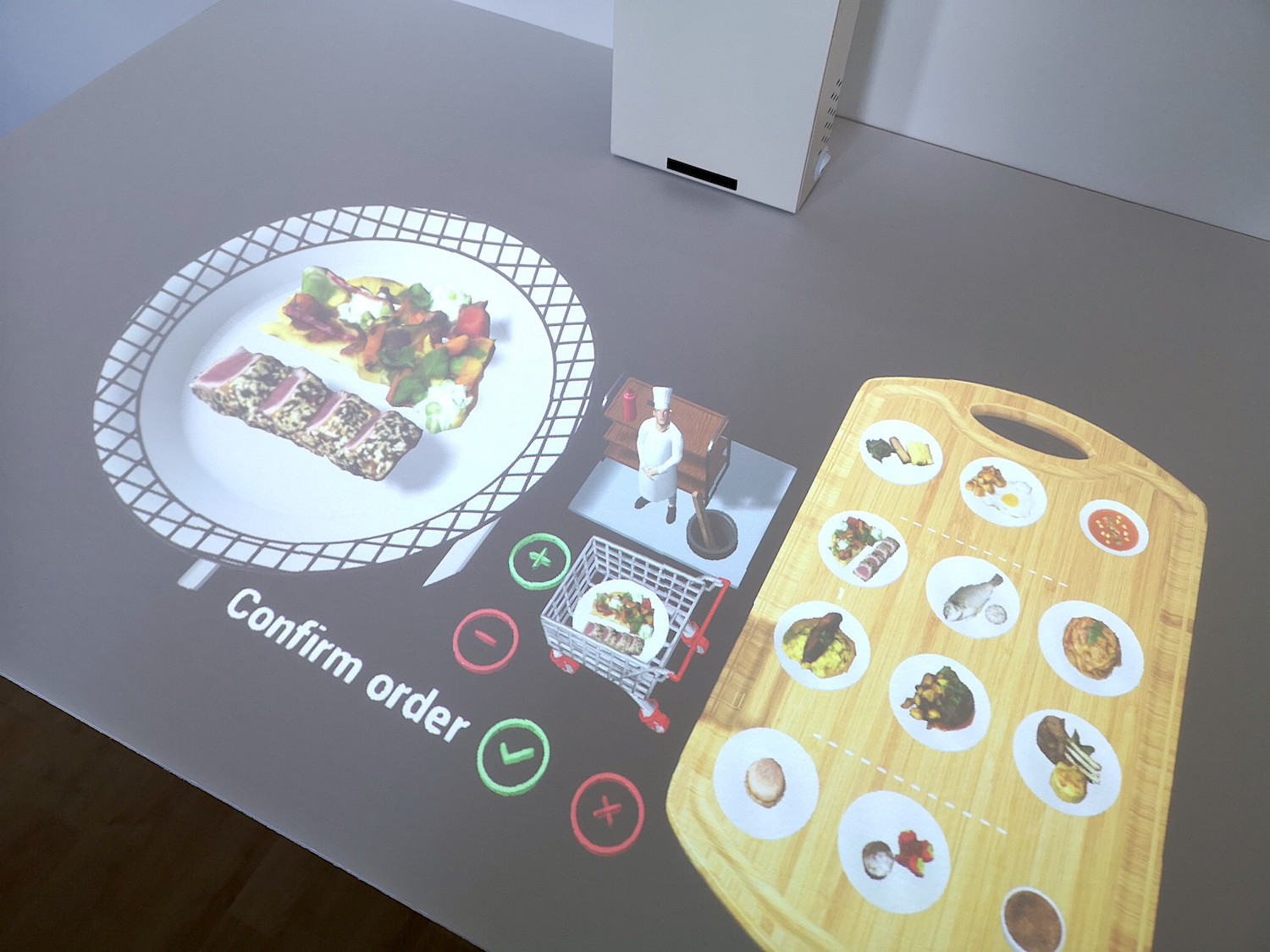 Tabletop POS system - The guest places the order from his place in full autonomy at any time of the meal. The AR lamp sends the order information to the restaurant kitchen.