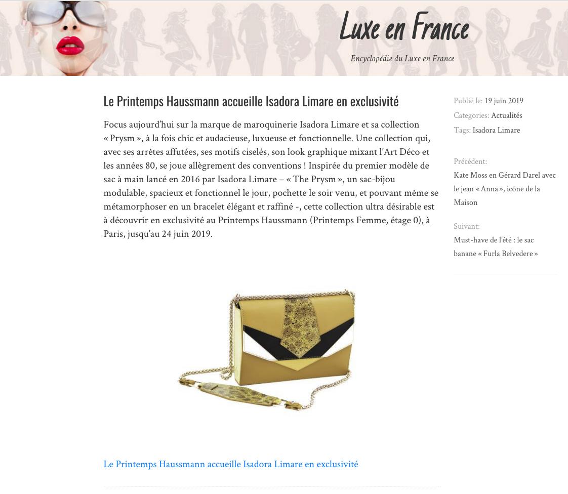LUXE EN FRANCE PARUTION ISADORA LIMARE