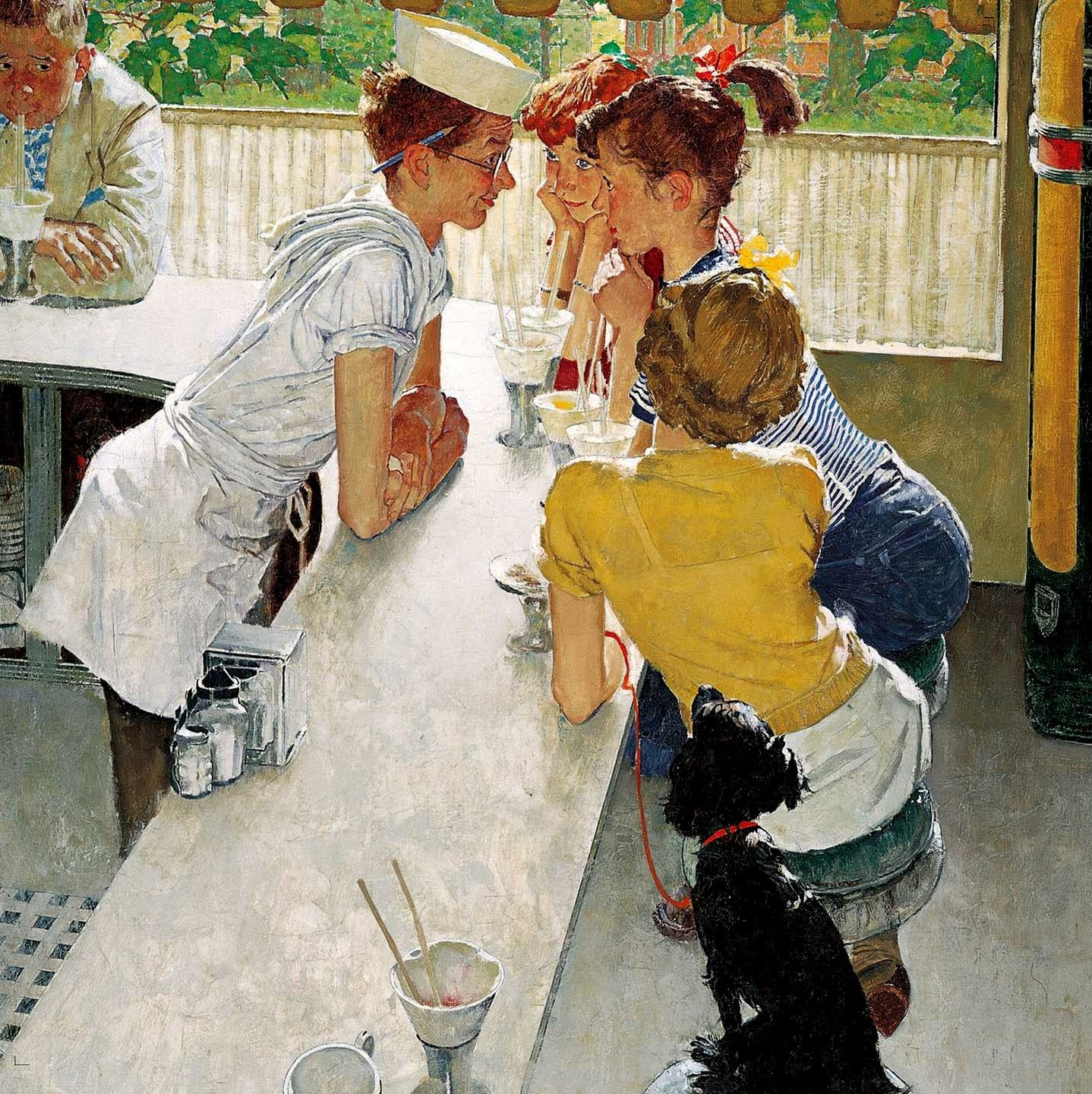 © Norman Rockwell - Group of girls chat with a waiter