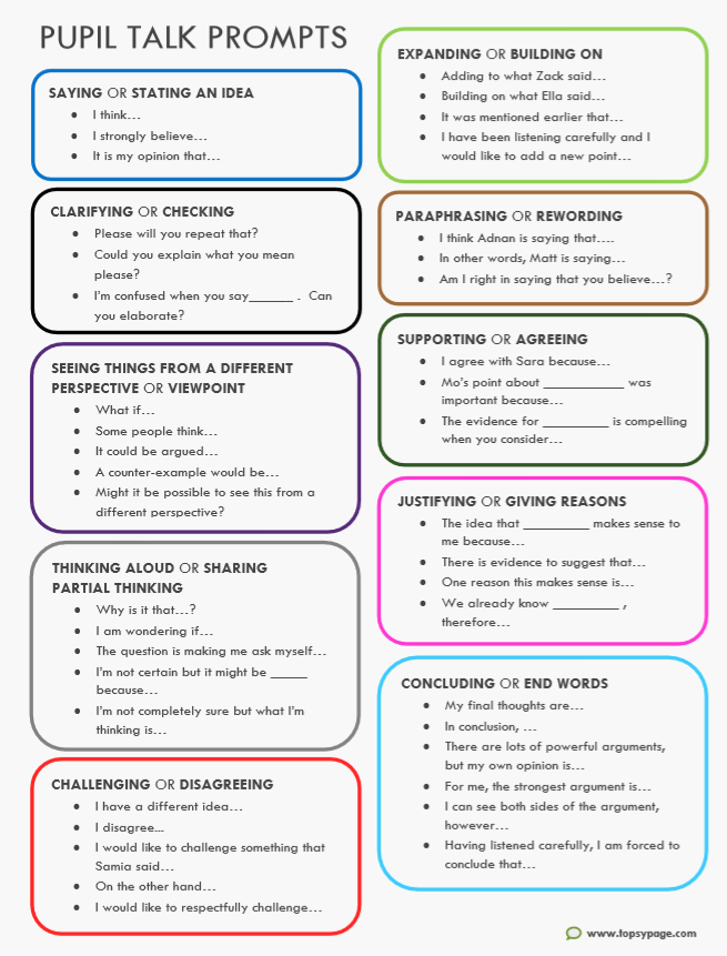 Talk Prompts for pupils -