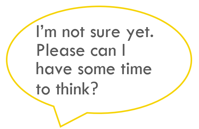 Pupil talk prompt: I'm not sure yet. Please can I have some time to think?