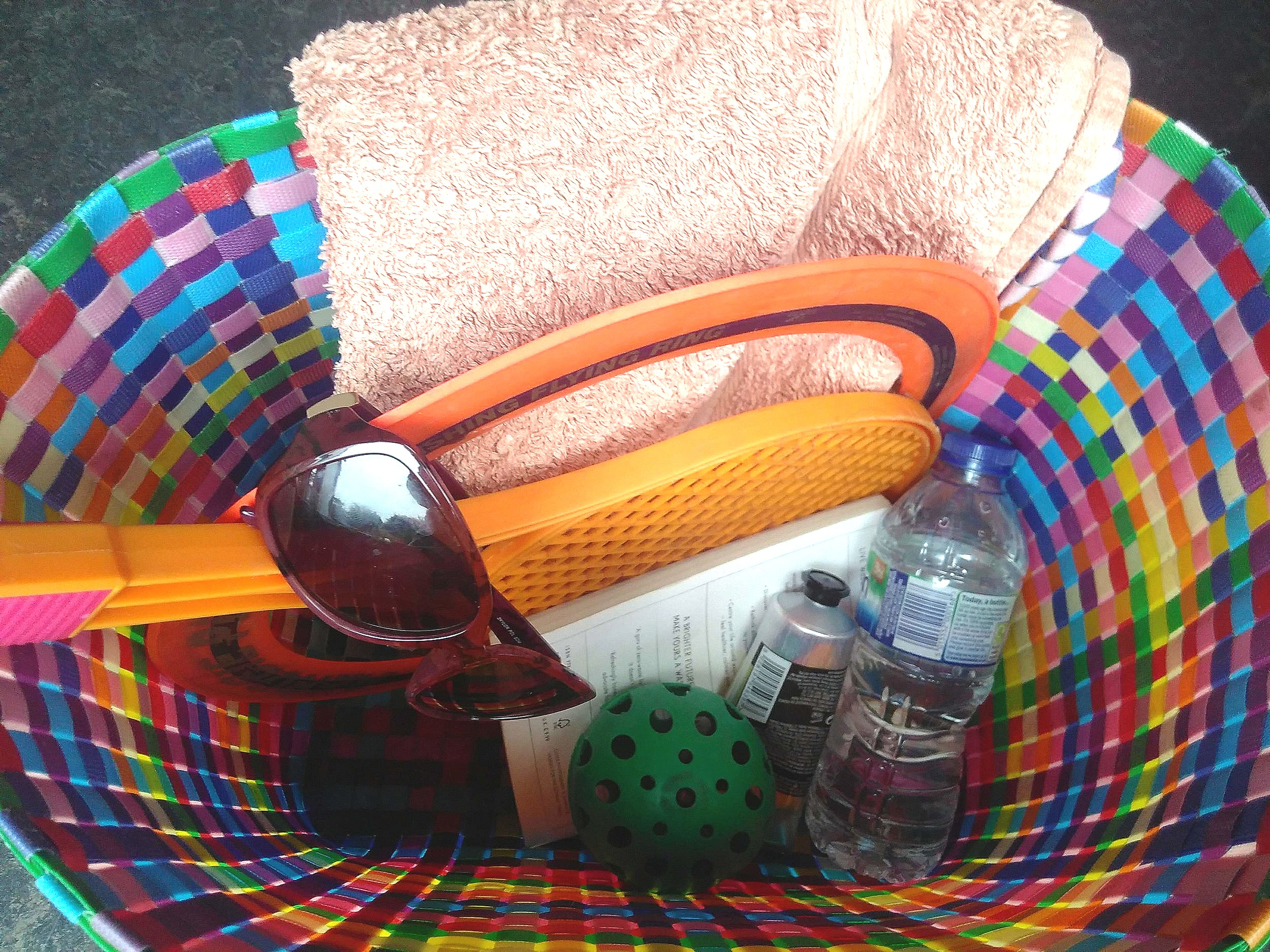 A bag full of beach-related items