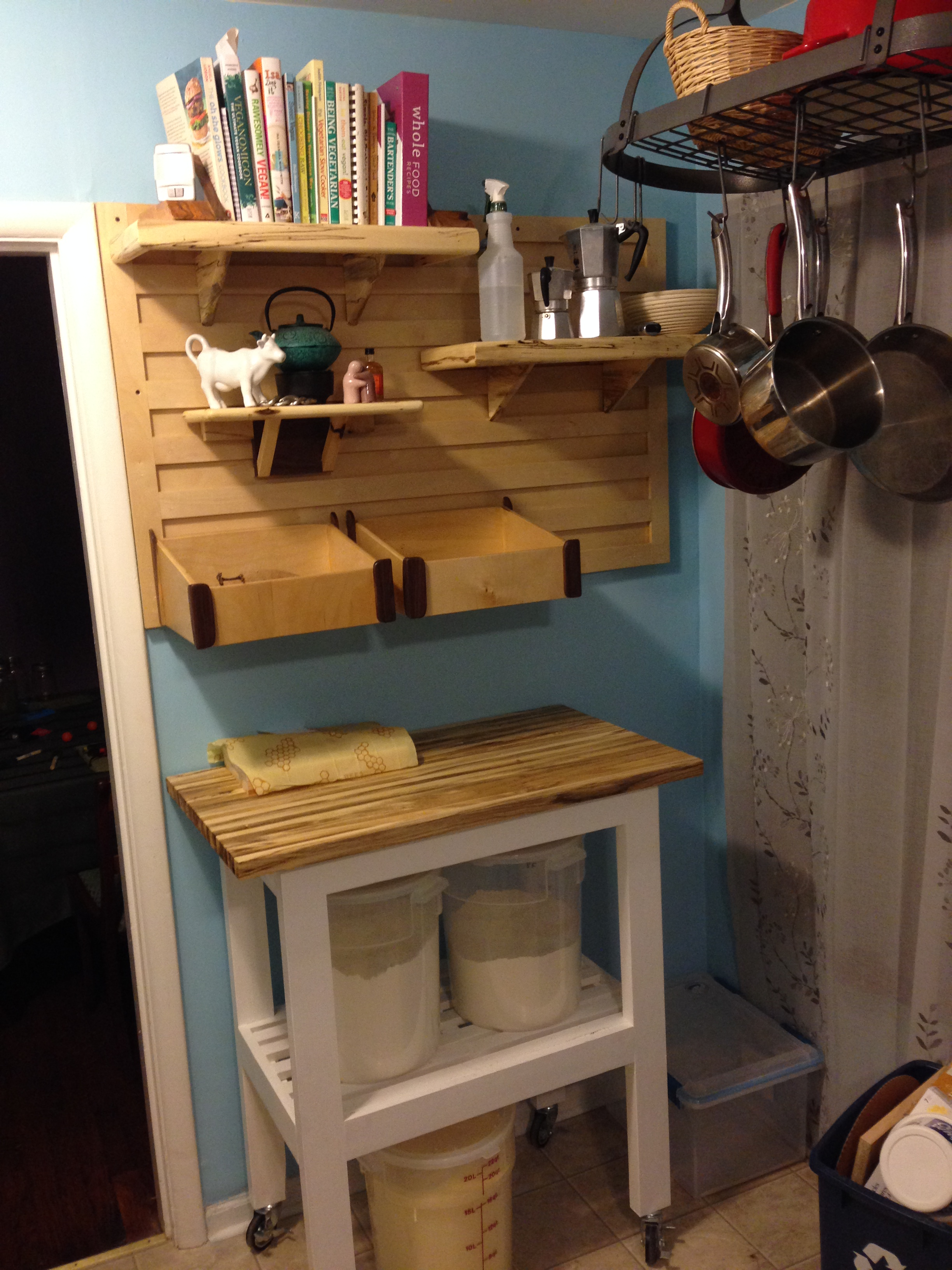 Kitchen Cart, rack, and cleat system installed.JPG