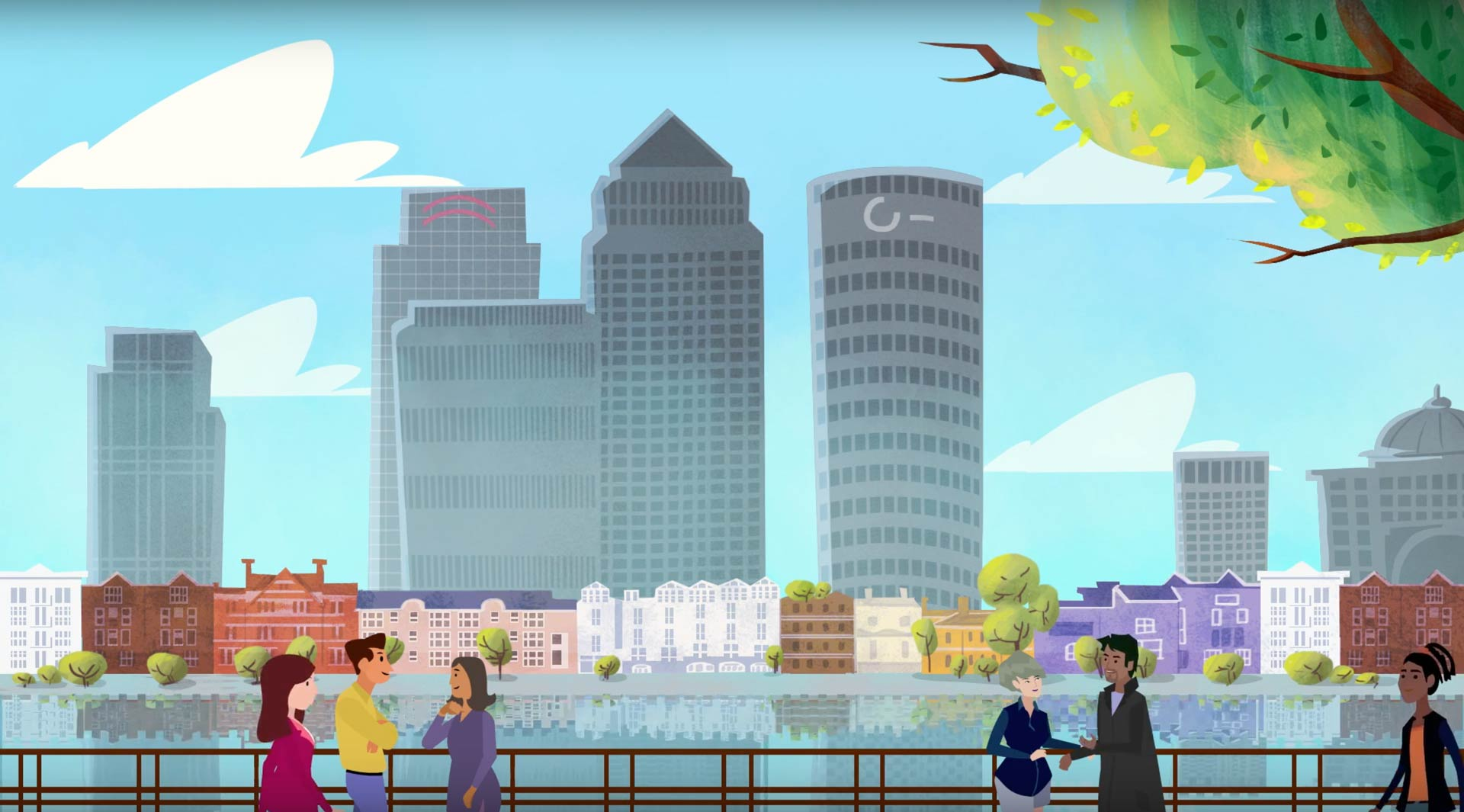 London riverfront: A scene from our animation that tells the CDR story.