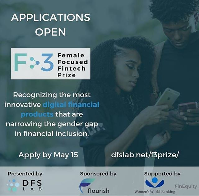 DFS Lab has opened applications for the F3 Prize! ❇  The prize is aimed at recognising the most innovative digital financial products that are narrowing the #gendergap in #financialinclusion.  The winner and two runners up will be invited to and featured at the FT/ IFC Transformative Business Awards 2019, held in London.  Think your digital financial product might win? Visit https://dfslab.net/f3prize to learn more!