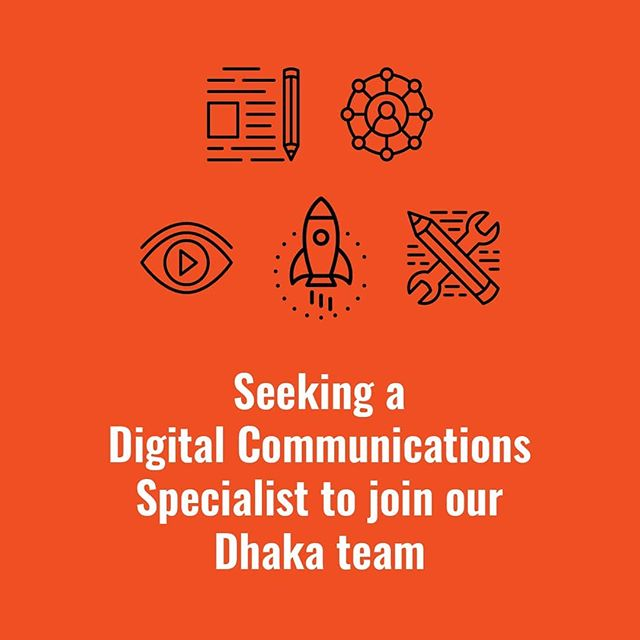 Our Dhaka team is looking for a Digital Communications Specialist to help us create comms materials, stories, and campaigns for international development programmes.  We are looking for an excellent writer with at least 3 years of experience in the non-profit/ social sector. This is a one-year contract that includes many opportunities to work on projects worldwide.  See our bio for link to our website and job description. Apply today if you want to help us craft messages that the world needs to hear.  #globaldev #devjobs #comms