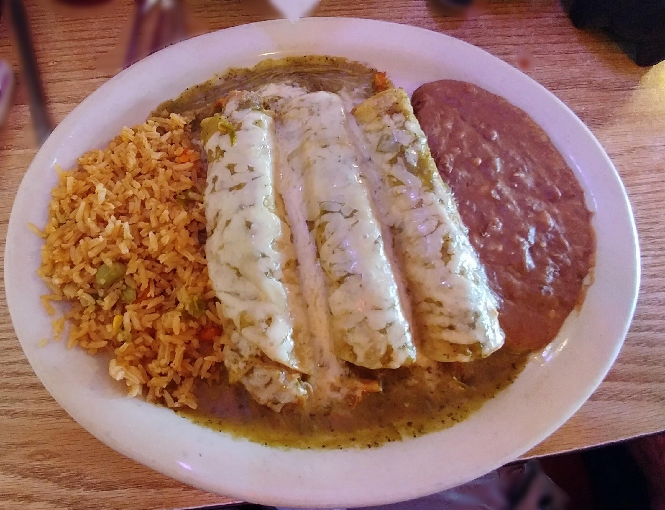 Chicken Enchiladas - with tomatillo sauce
