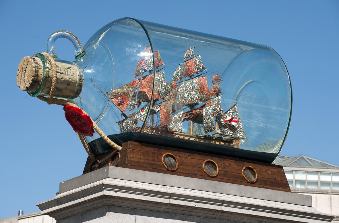 Yinka Shonibare, Nelson's Ship in a Bottle, 2010