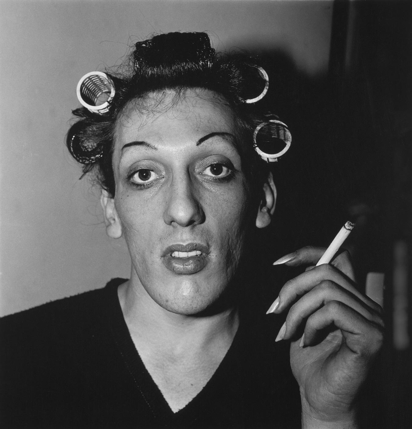 Diane Arbus, A Young Man in Curlers at Home on West 20th Street, NYC, 1966