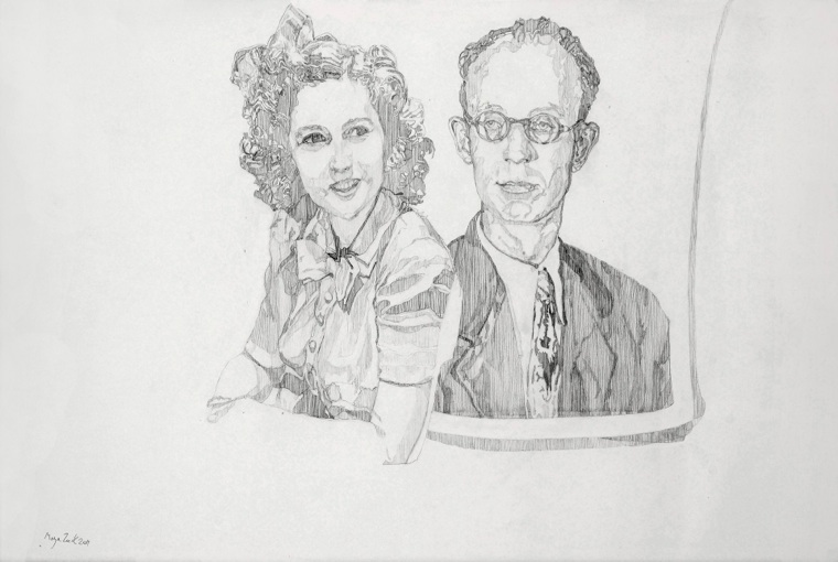 COUPLE 2011  Pencil on paper. dimensions: 42*59.4 cm. Exhibited at  Camera Obscura , Natalie Seroussi gallery.