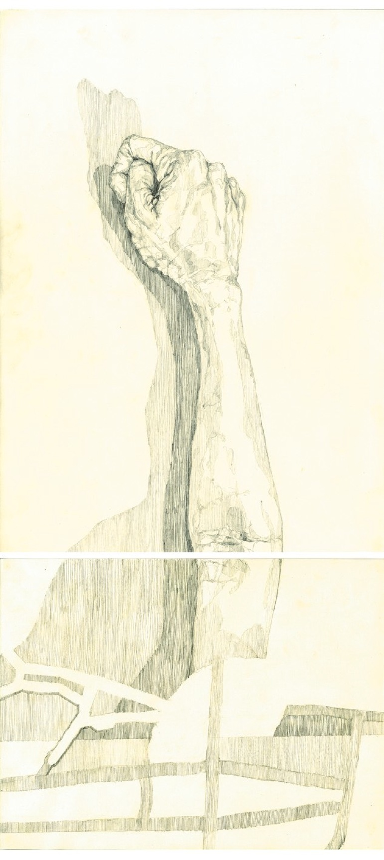 OCCLUSION (DIPTYCH) 2010  Mechanical pencil on paper, dimensions: 64*29.5 cm. Private collection