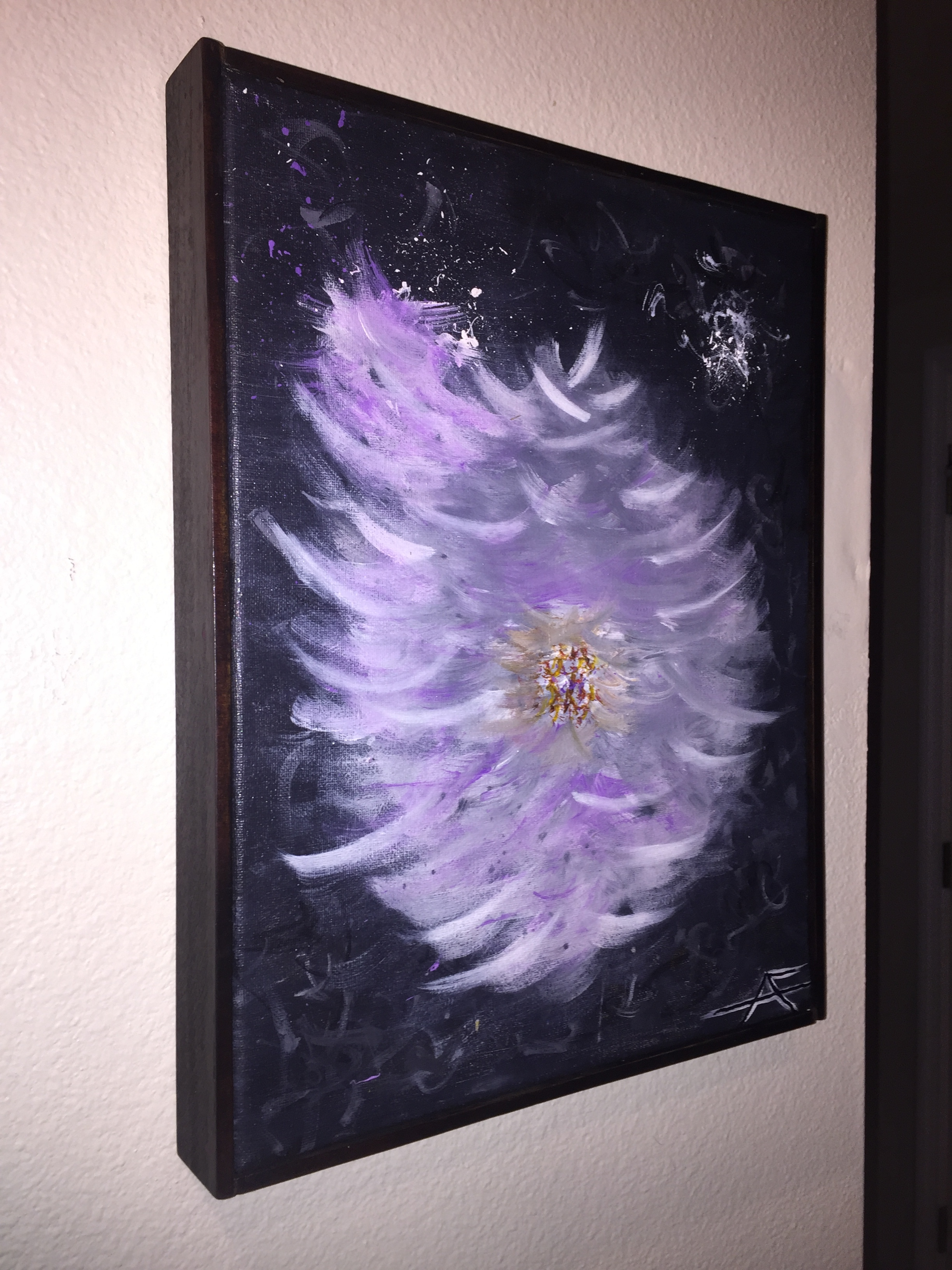 Purple Flower Abstract in custom strained frame.