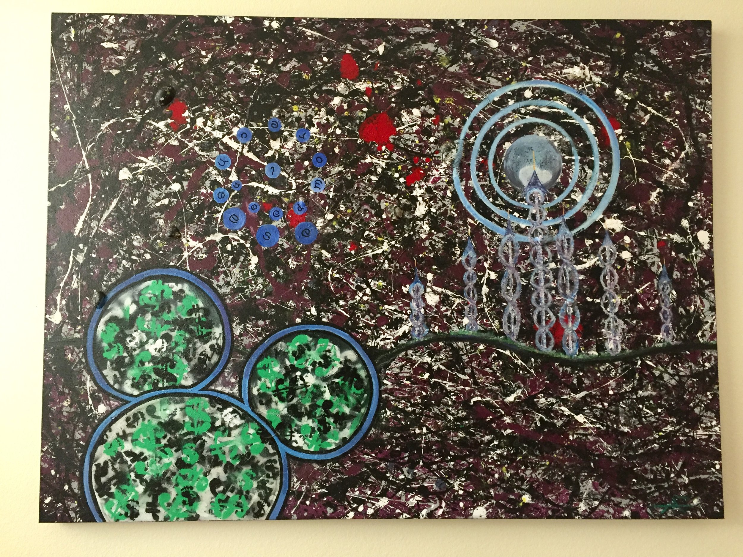 CANTO VII (MIXED MEDIA ON CANVAS) 3' X 4' -acrylic, sand, sea shells, tree twigs, spray paint, and glitter.