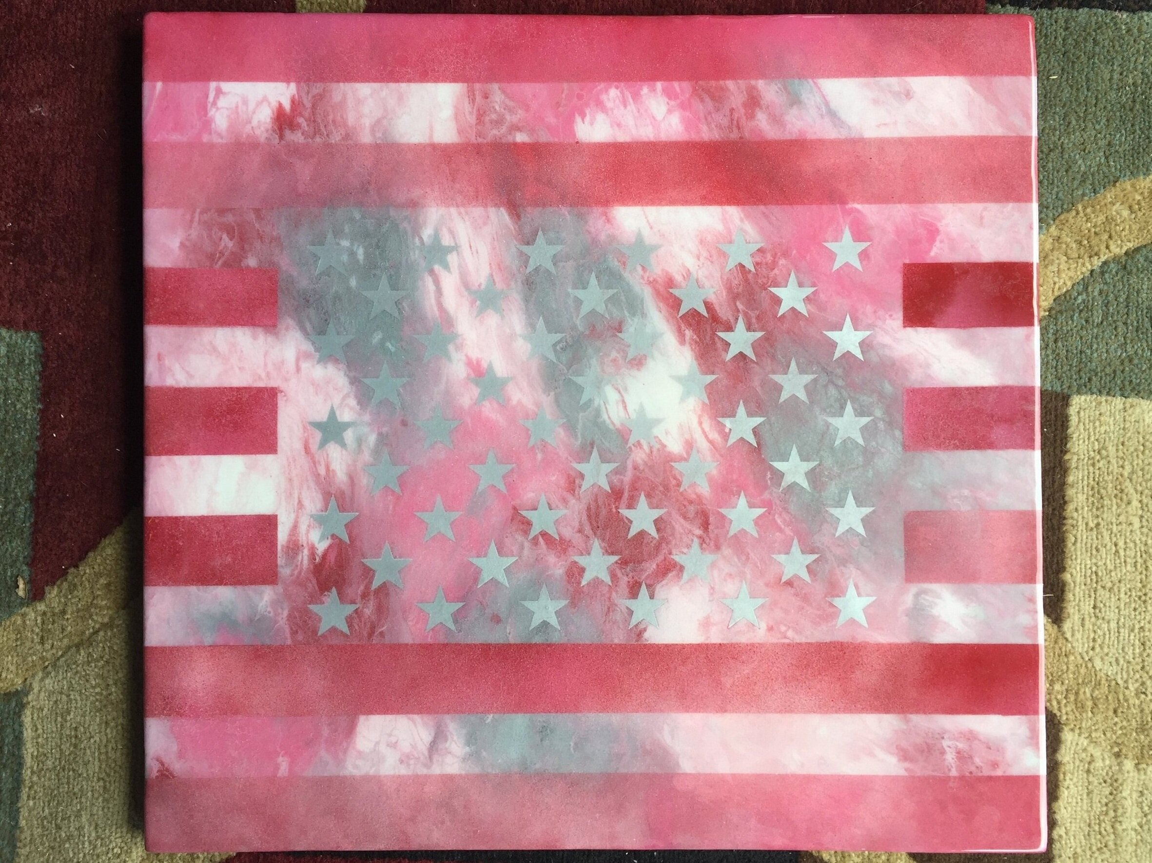 OLD GLORY (ON WOOD) SPRAY PAINTED RESIN & RESIN SEALED