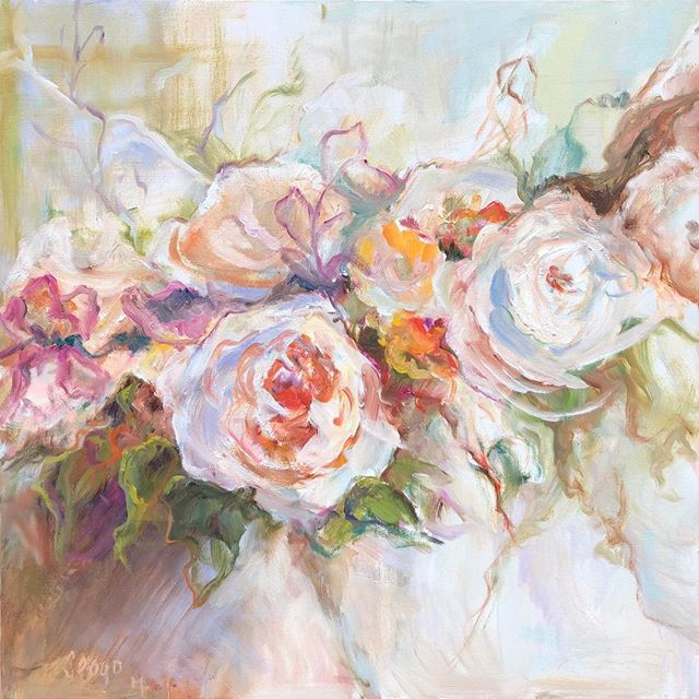 A gorgeous painting of roses is on its way to a lovely Uptown New Orleans home- congrats Mary Helen Seago @degasgallery #roses #degasgallery #neworleans