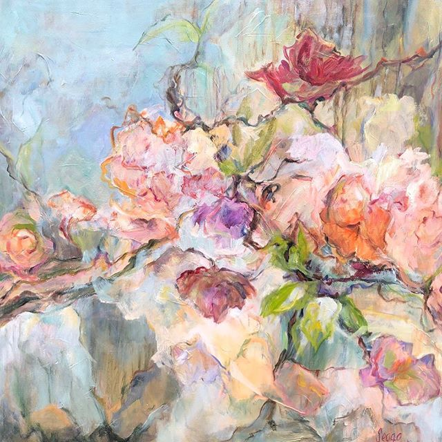 Early Sunrise by Mary Helen Seago, oil on canvas, 36x36 in. @degasgallery #art #nola #fleurs #earlysunrise #painting