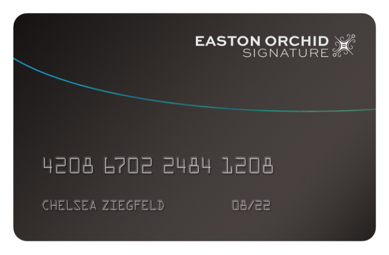 the easton orchid card - chelsea's special credit card. provided by a small credit union in eastern long island, the card is known popular amongst high-profile individuals with low credit ratings as it has extremely high credit limits (with extremely dangerous apr and transfer fees)
