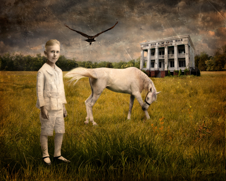 """Darlene Foster, """"All the Pretty Little Horses,"""" photographic montage, 2014.  Image © Darlene Foster."""