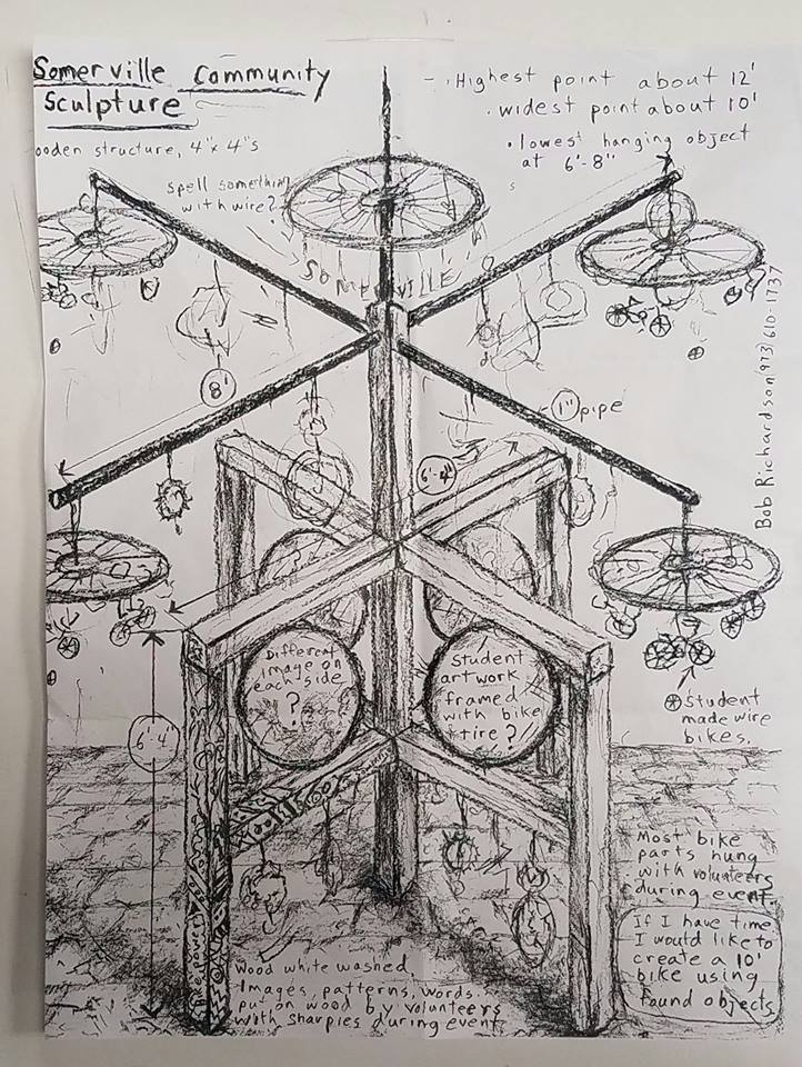 Artist's sketch of the sculpture, by Bob Richardson.