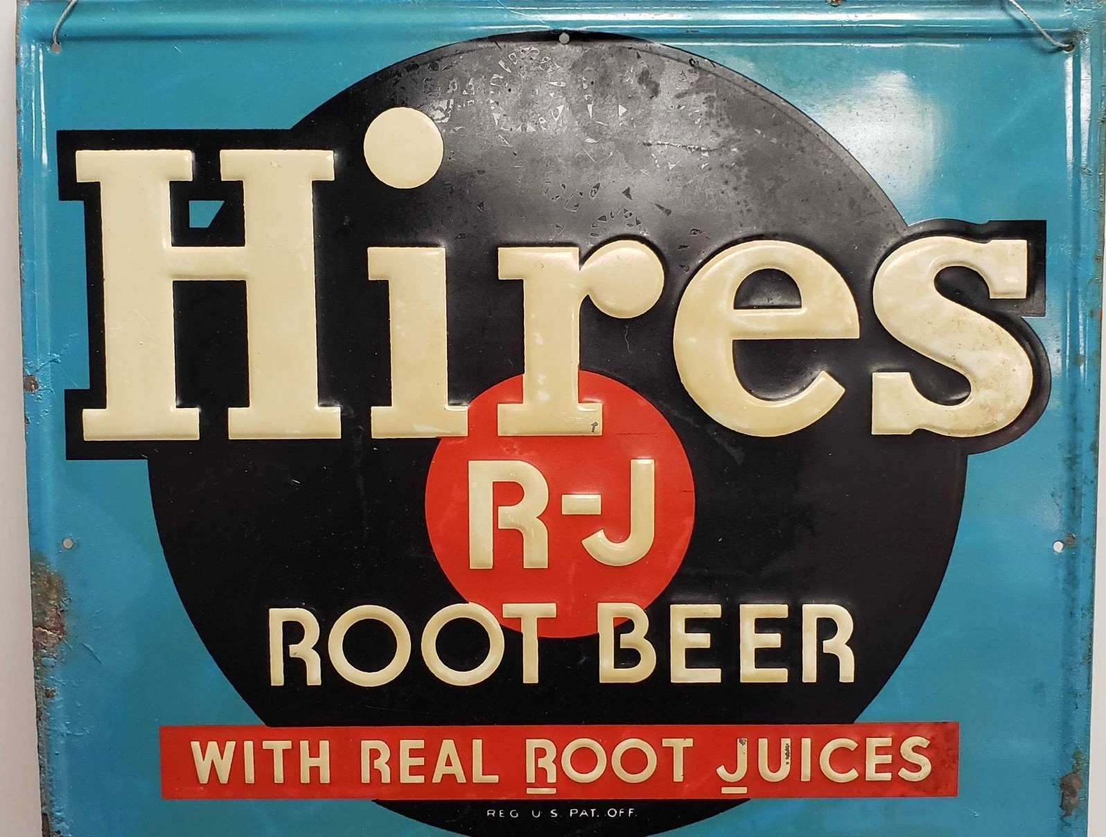 Hires 1940's-50's metal and chalkboard sign (detail)