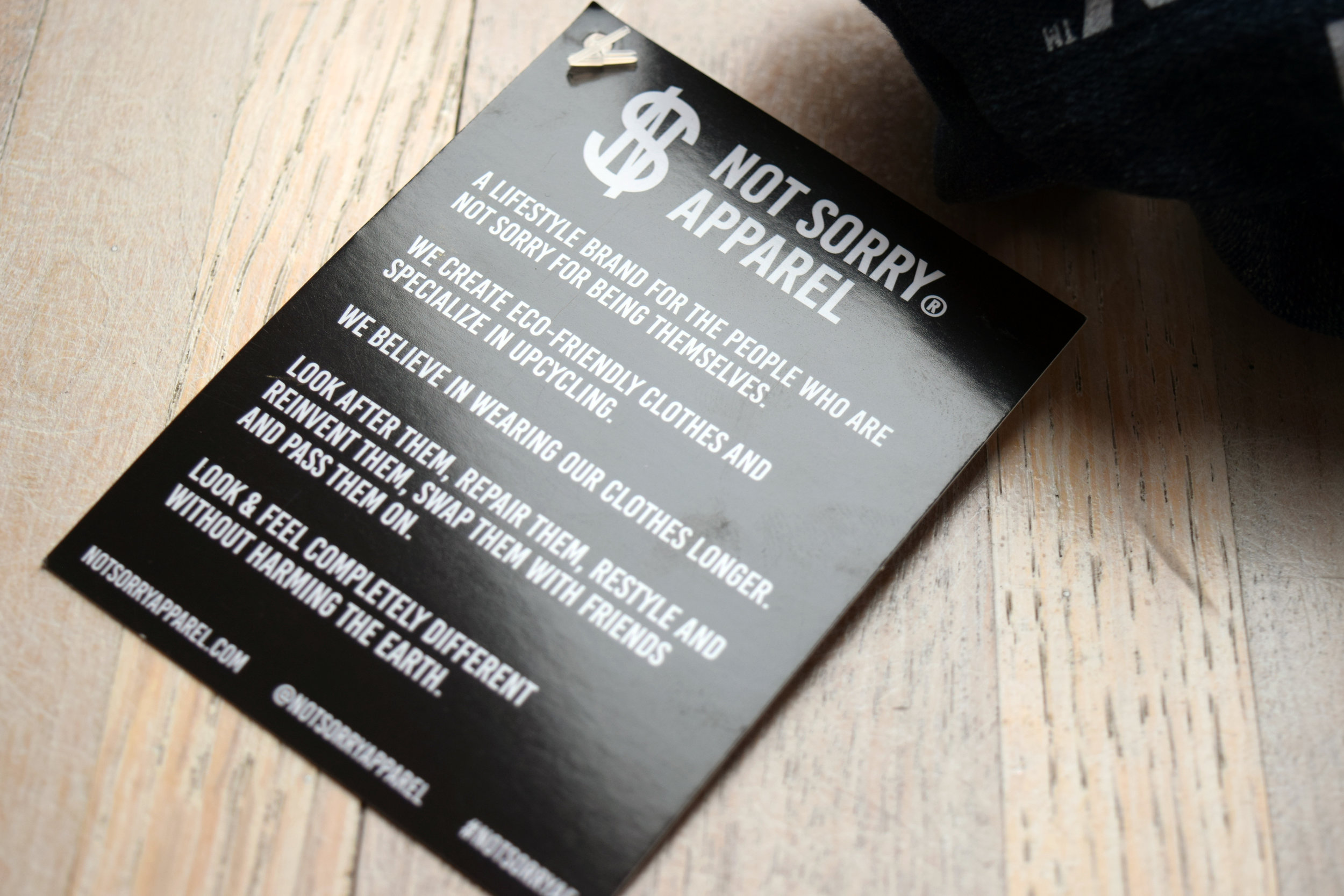 Our clothing tags share our sustainable ethos with customers.