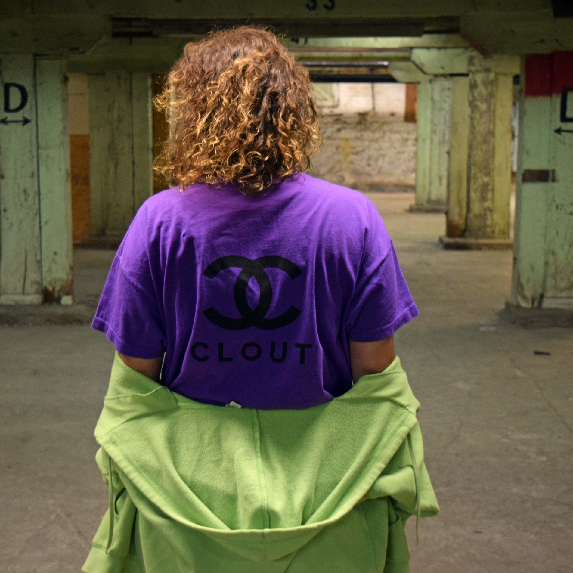 This Rue look is brought together with this oversized purple looney toons up cycled clout tee.
