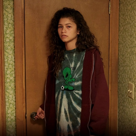 Spotted! Rue in her classic oversized tee and zip up combo, we took inspiration from this look and realized our own wasn't too far from hers.