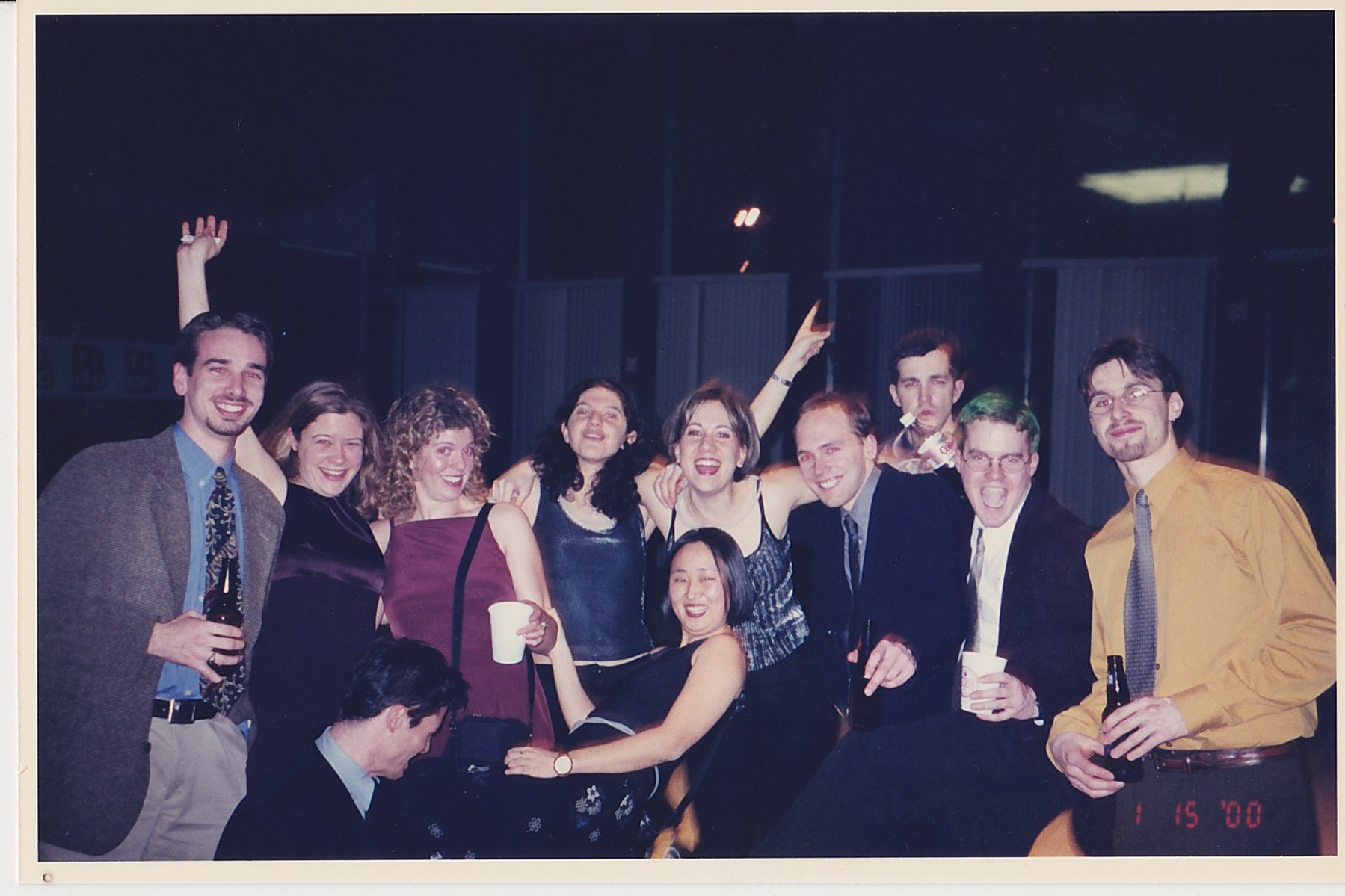 Chris at Law Games 2000 in Ottawa with her law class peeps, celebrating victory