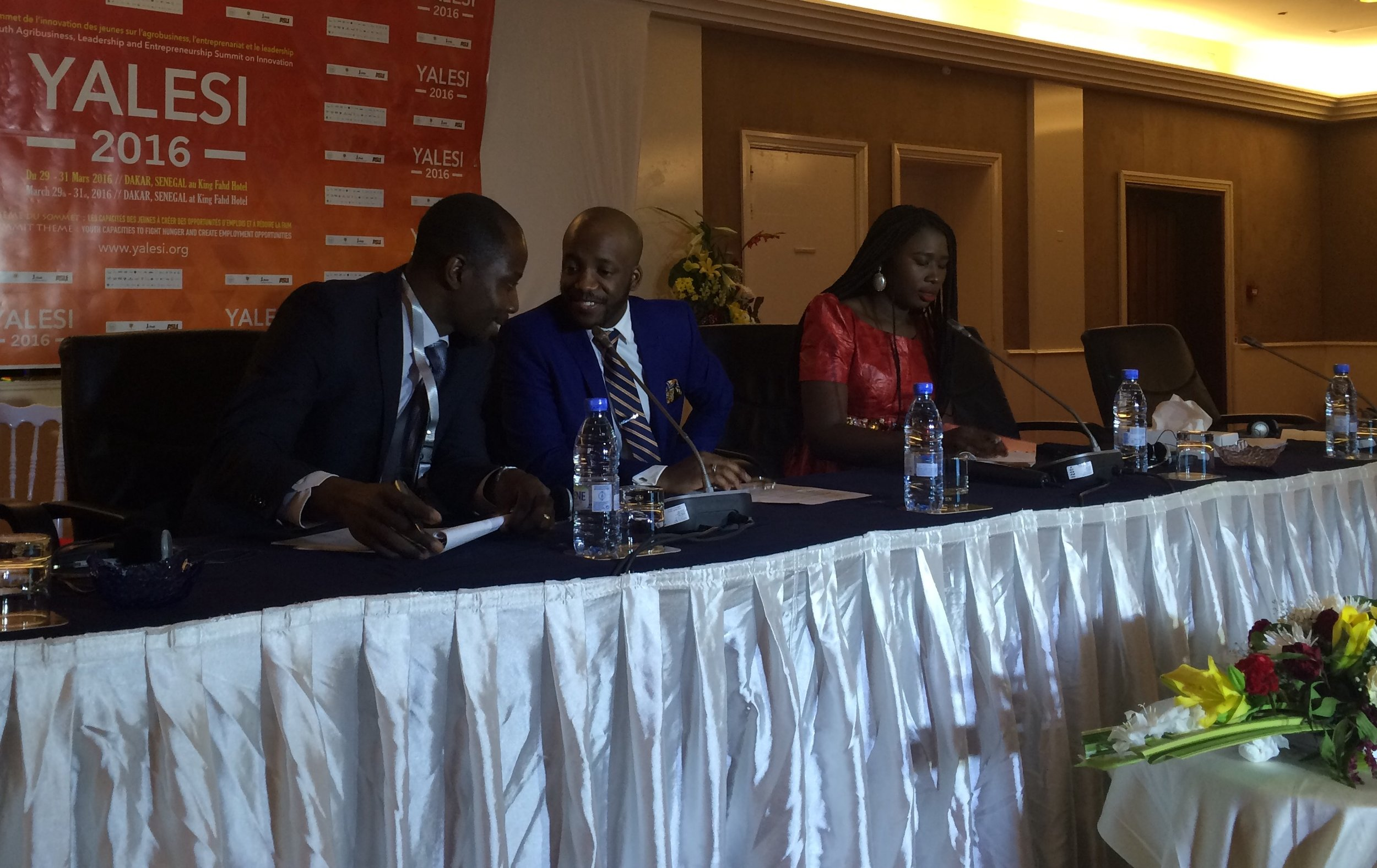 Zuwa speaking on a panel at the YALESI 2016 conference organized by the Senegalese Government and the Youth Innovation Network (GYIN) in Dakar, Senegal