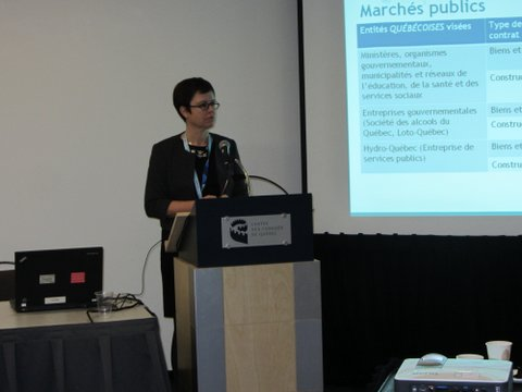 Katia lecturing on the Canada-EU free trade agreement at the annual congress of the Quebec Mining Association in Quebec City in 2015