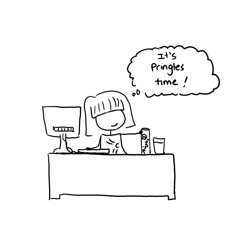 Wela at her desk.