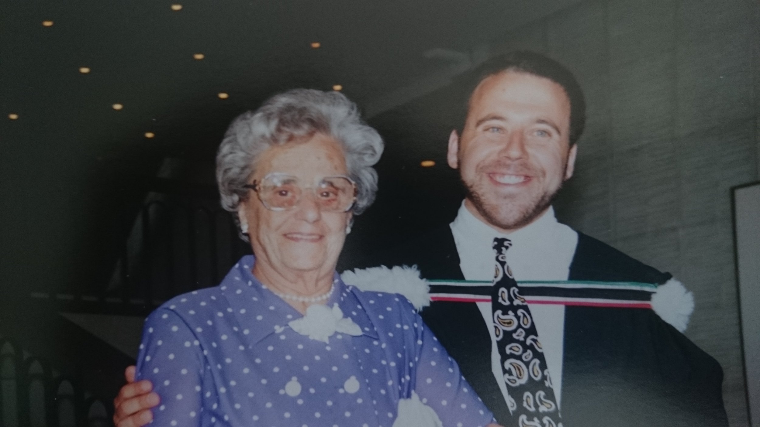 Robert and his very proud grandmother at convocation in 1992.