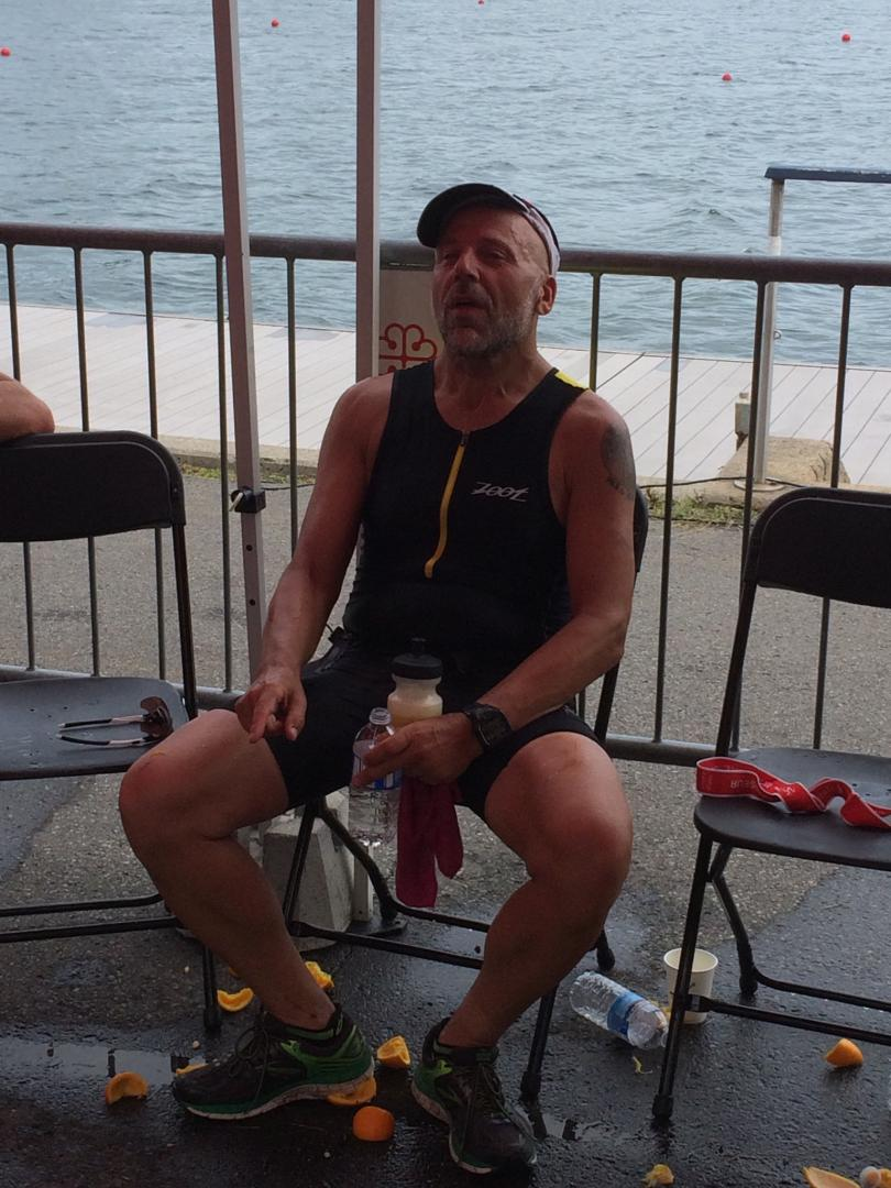 """Robert at his current """"work"""" -the end of the Espirit triathlon in Montreal in September 2016."""